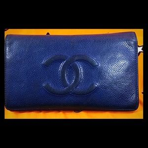 Authentic Chanel CC Monogram Blue Bifold Wallet